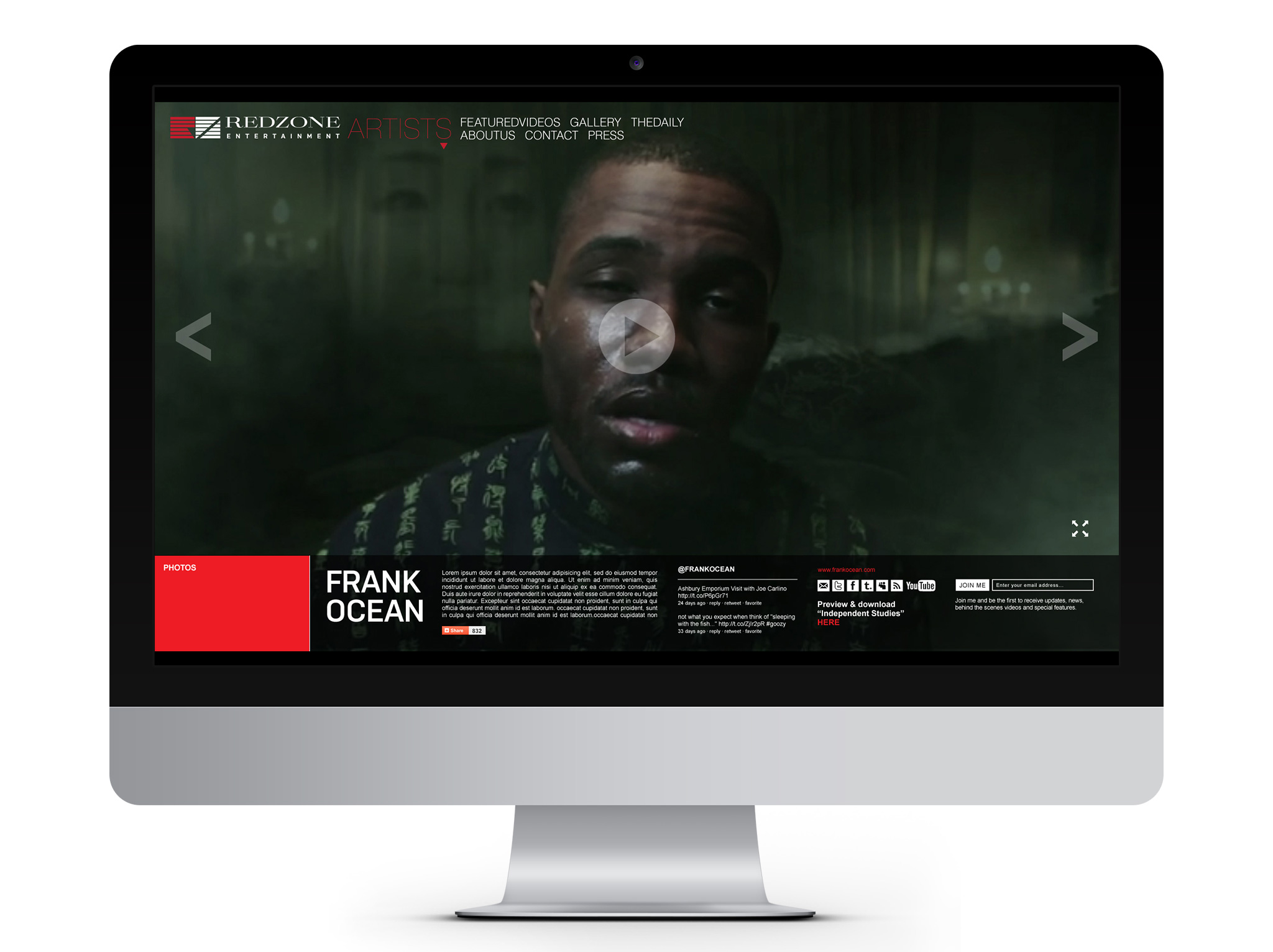 Redzone Entertainment Website Design Desktop Frank Ocean