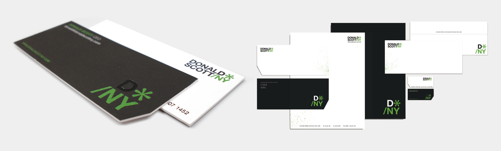Donald Scott printed stationery, letterhead, business card, envelope, etc.