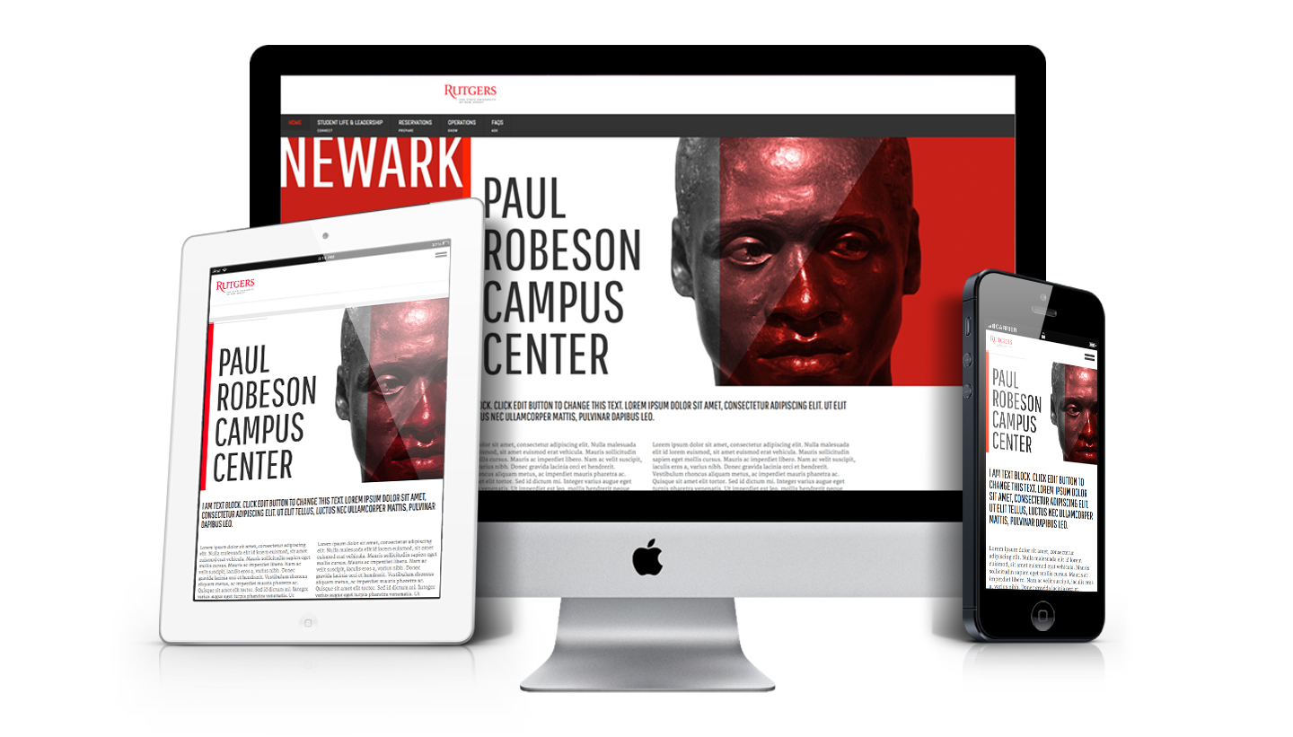 Rutgers University Paul Robeson Campus Center photo of responsive website