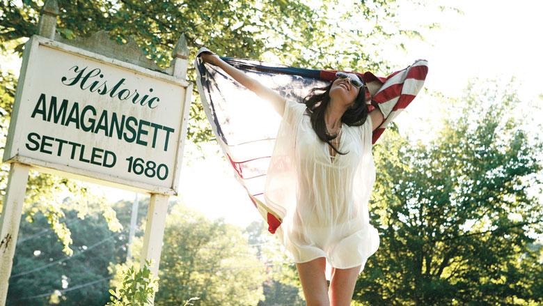 Jarlath Mellett Amagansett Model Photo with American Flag