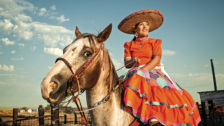 Blend Images Model on Horse Dressed in Traditional Mexican Clothing