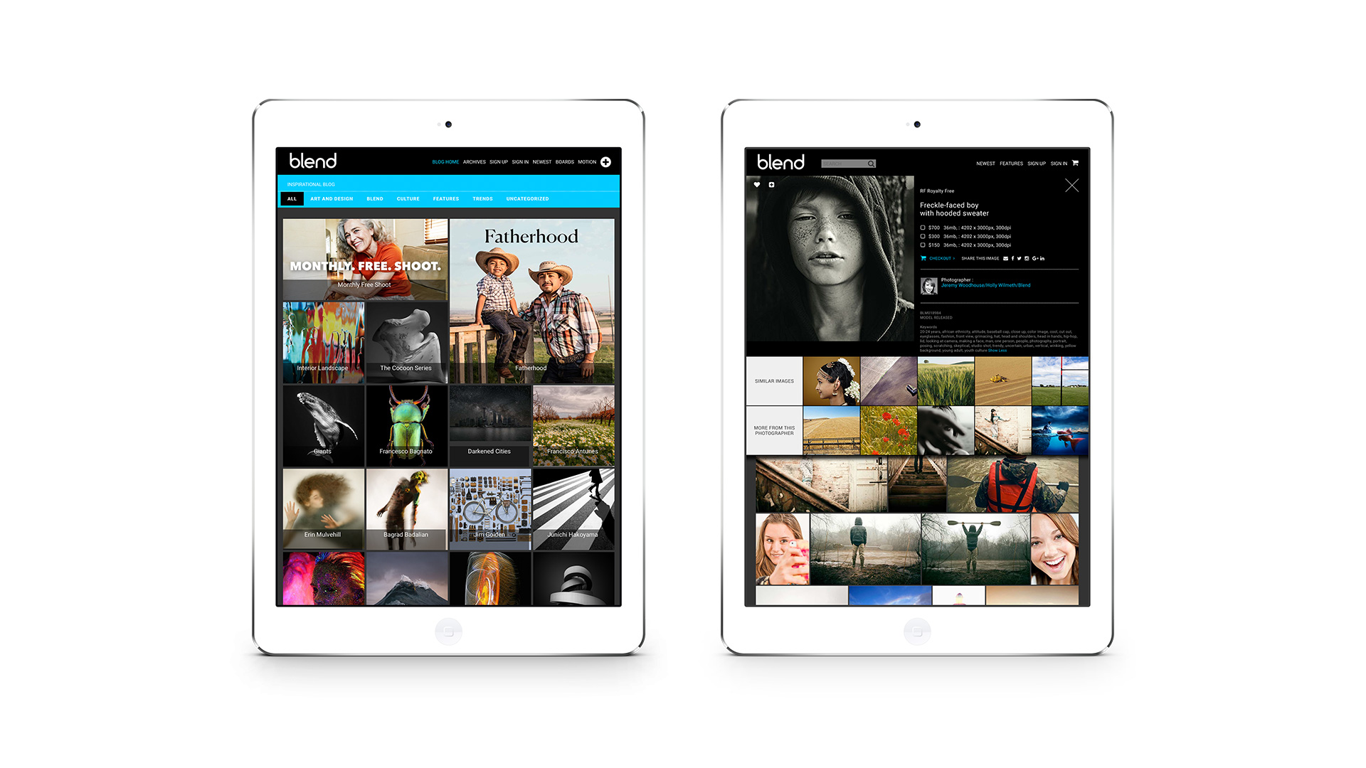 Blend Images Website Design iPad
