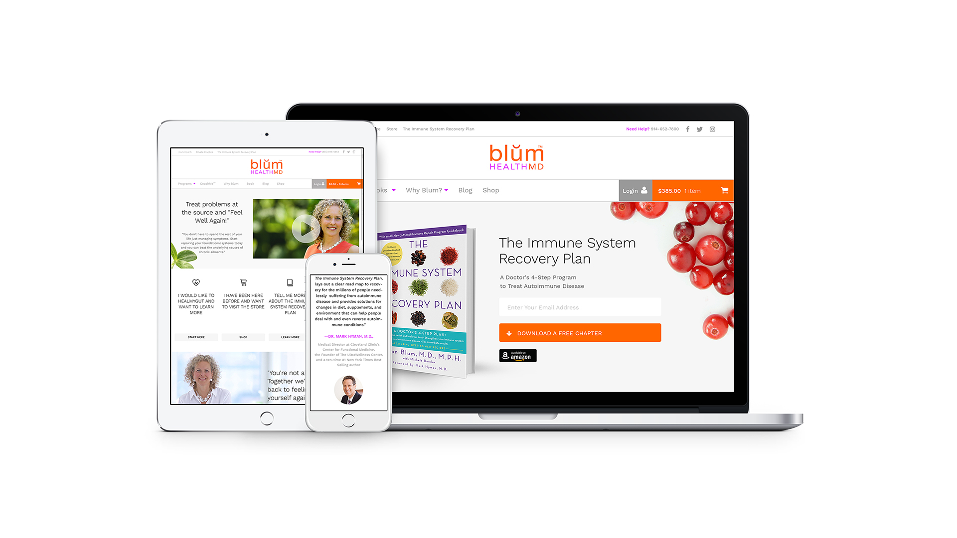 Blum Health MD Website design on laptop, ipad, iphone