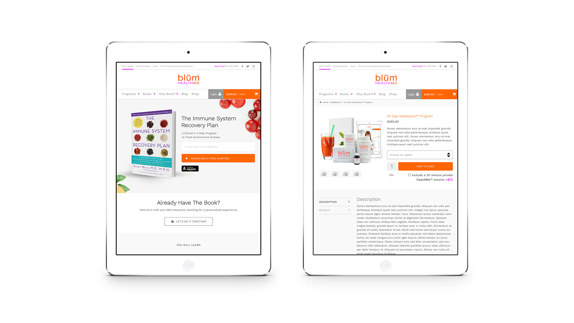 Blum Health MD Website Design iPad