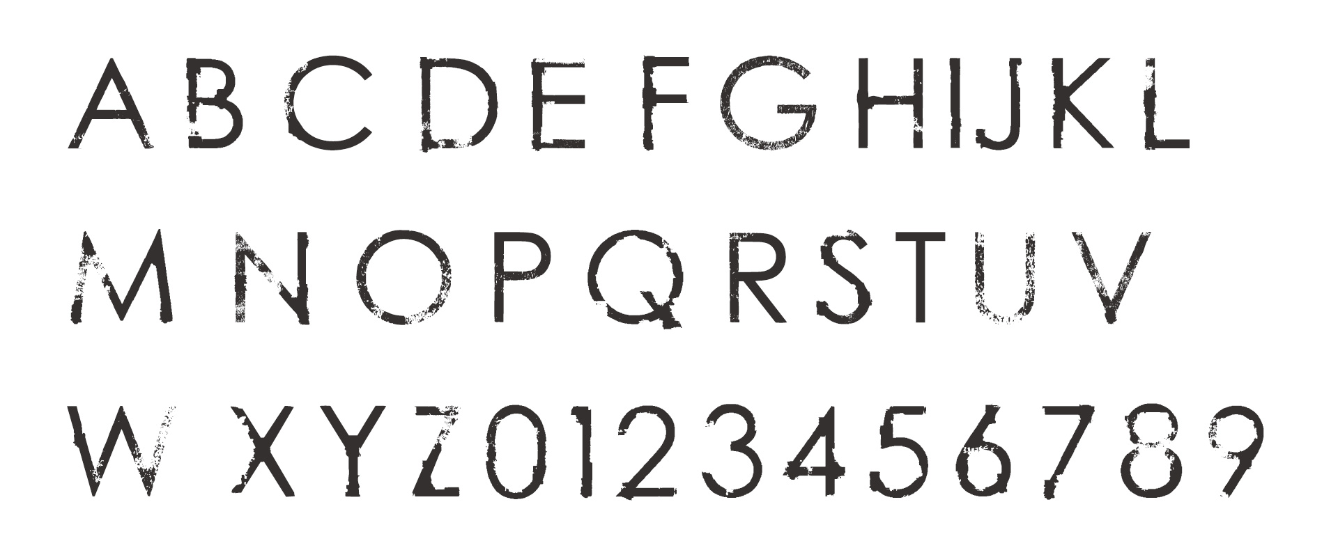 From The Source Font Design Alphabet Distressed Typography