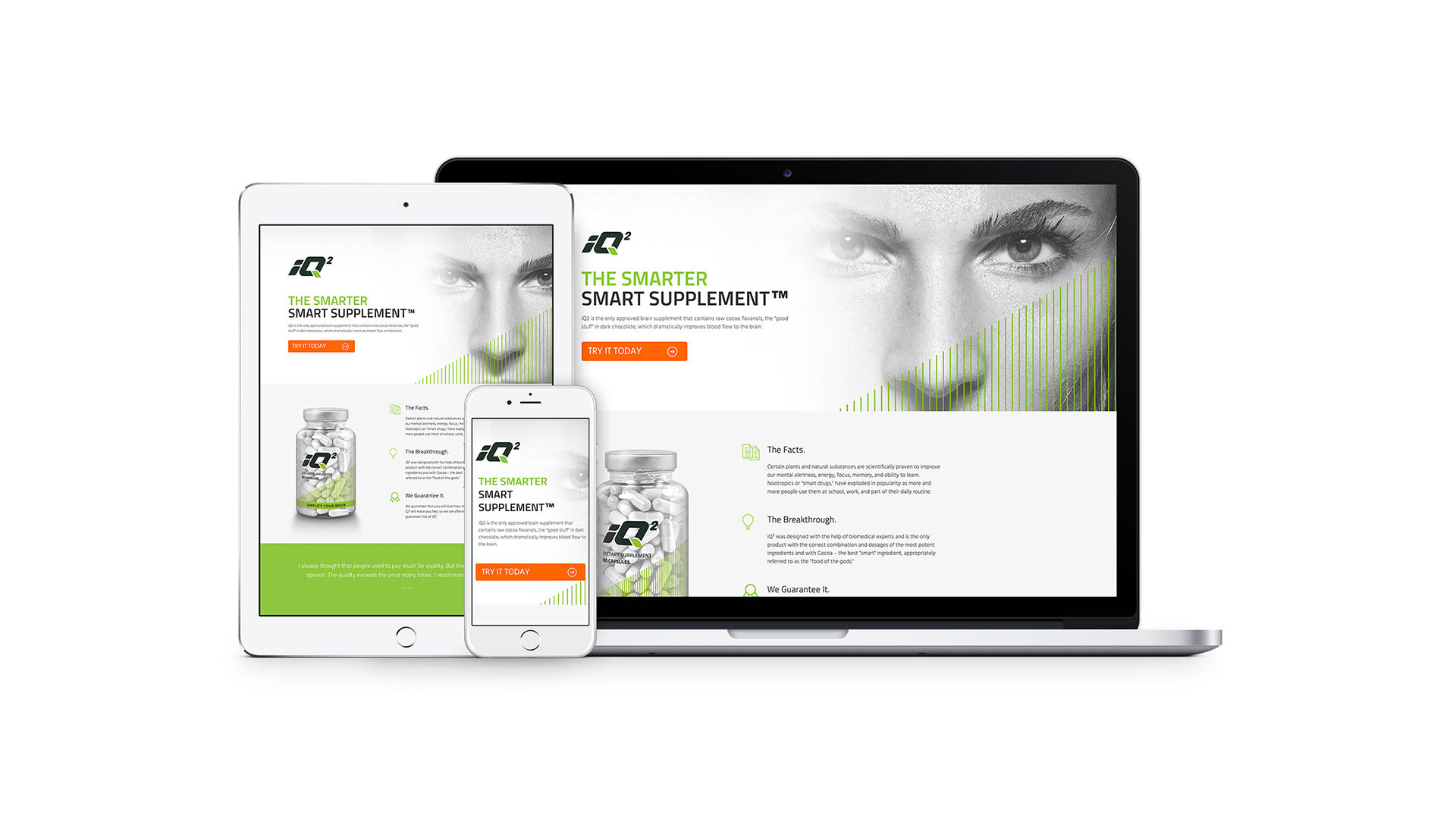 iQ2 Nootropics Website Design iPhone, iPad, Laptop