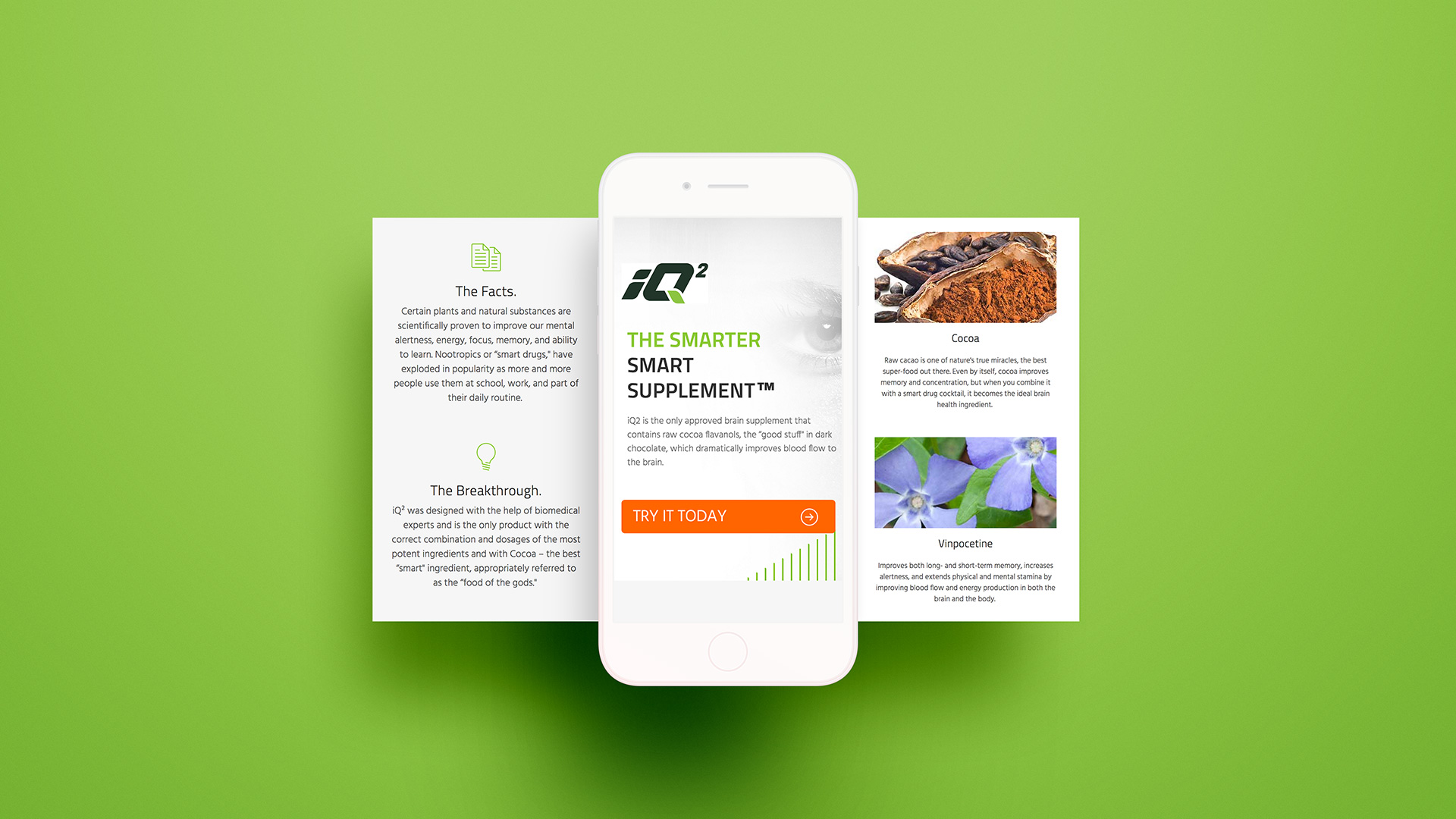 iQ2 Nootropics Website Design iPhone