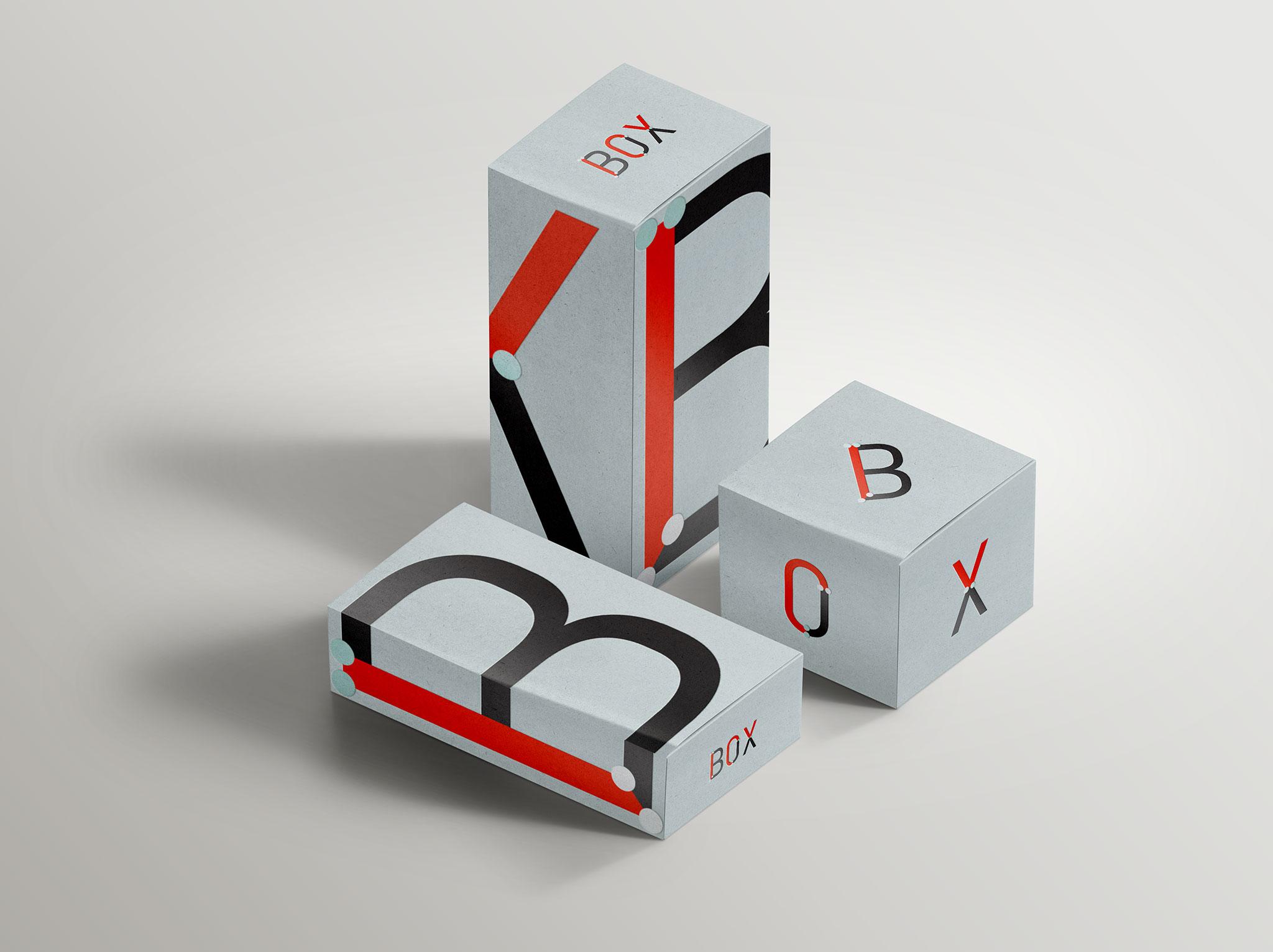 Spil Creative Architext font design on boxes