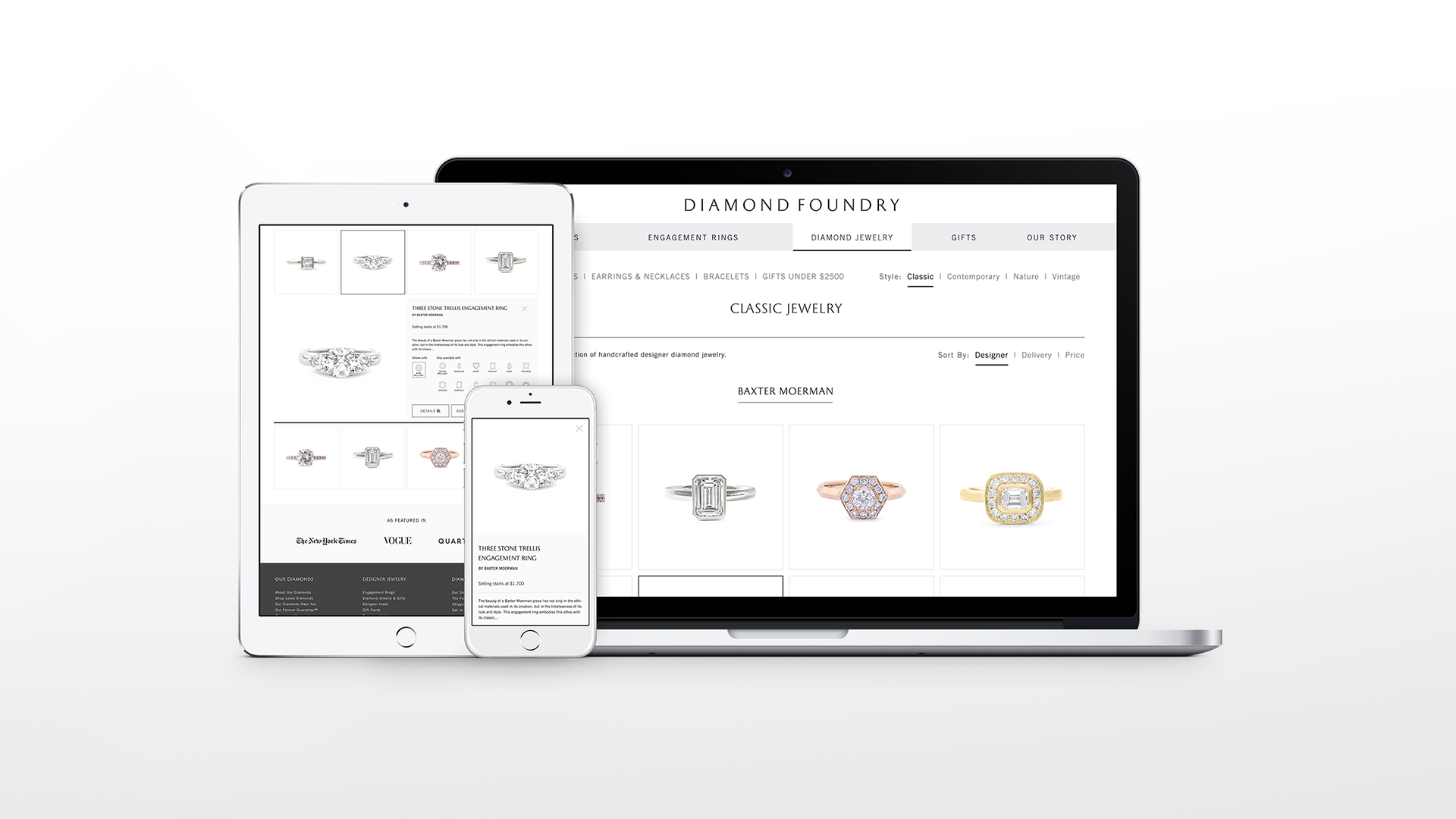 Diamond Foundry Website on laptop and iPad