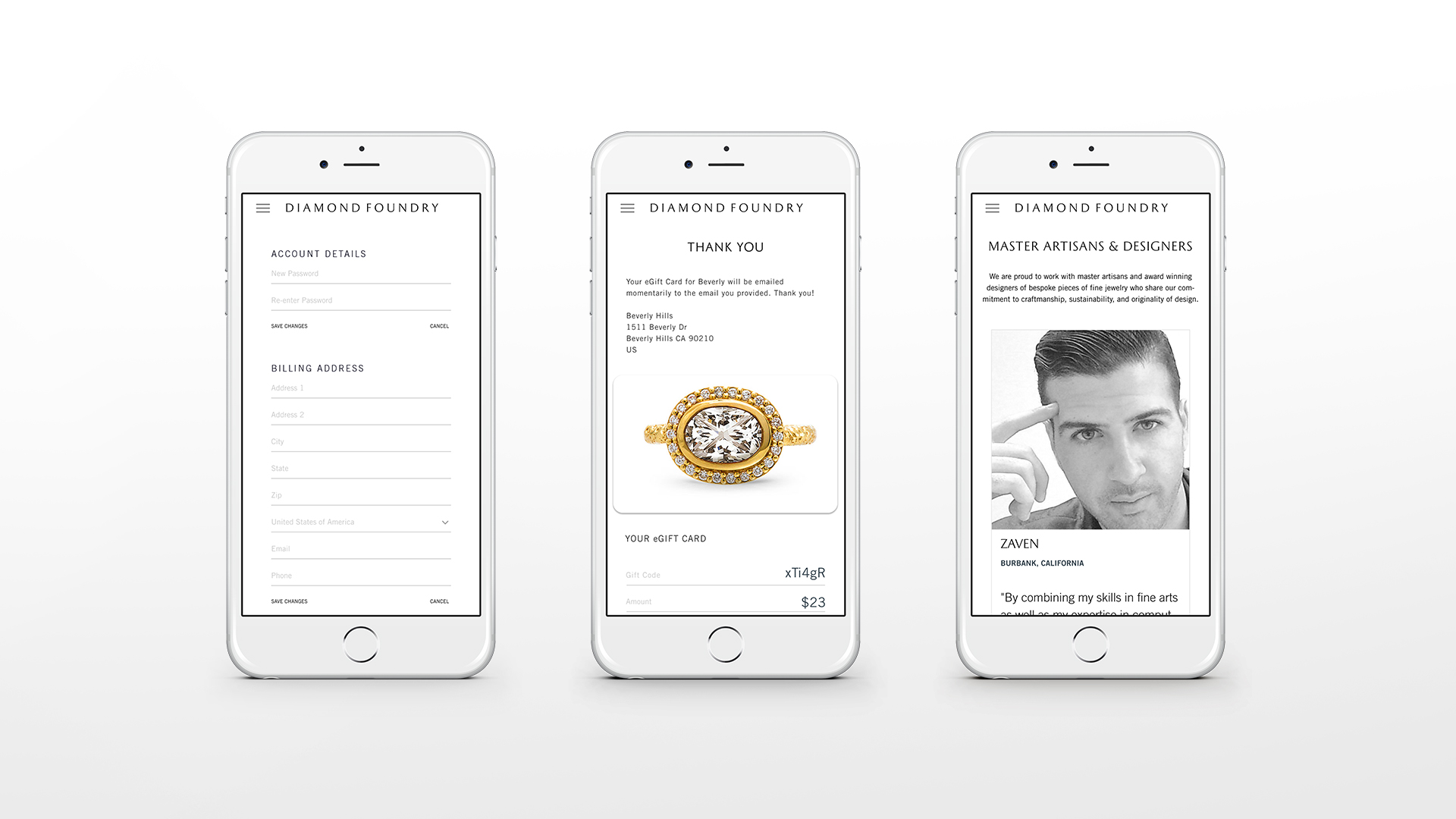 Diamond Foundry Website on iPhone