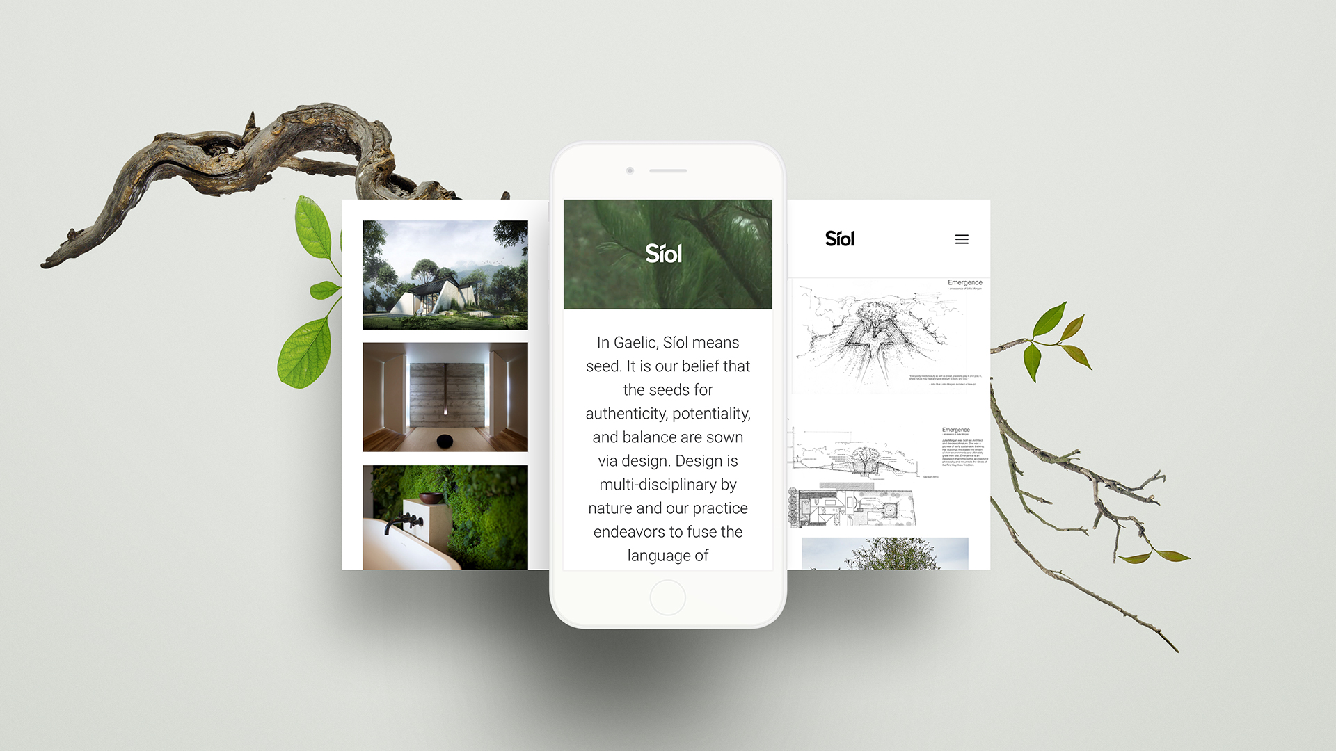 Siol Architects Website on iPhone