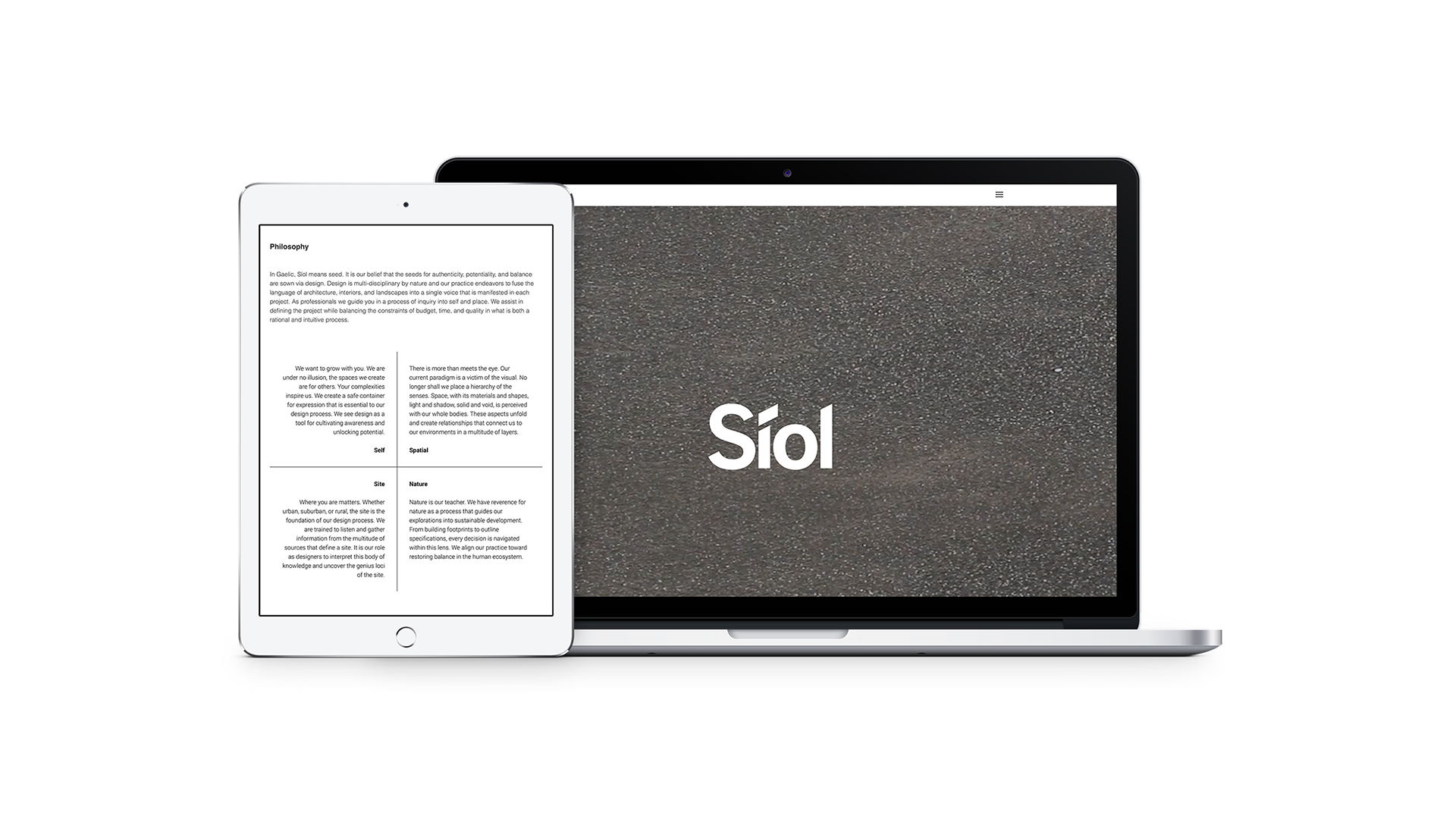Siol Architects Website on Laptop and iPad